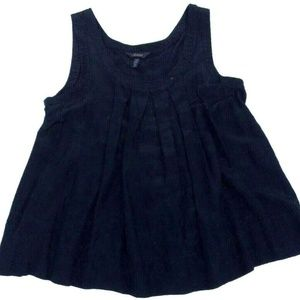 Soma Bamboo Silk Rayon Black Baby Doll Top Pleated